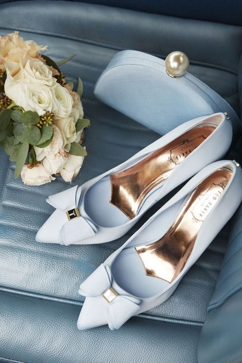 low priced d755c c3f98 Ted Baker Blue Bow Shoes | Scarpe | Blue wedding shoes, Bow ...