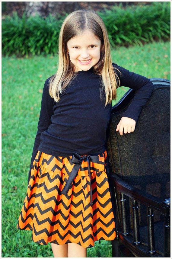 Girls Halloween Orange and Black Chevron Skirt Products
