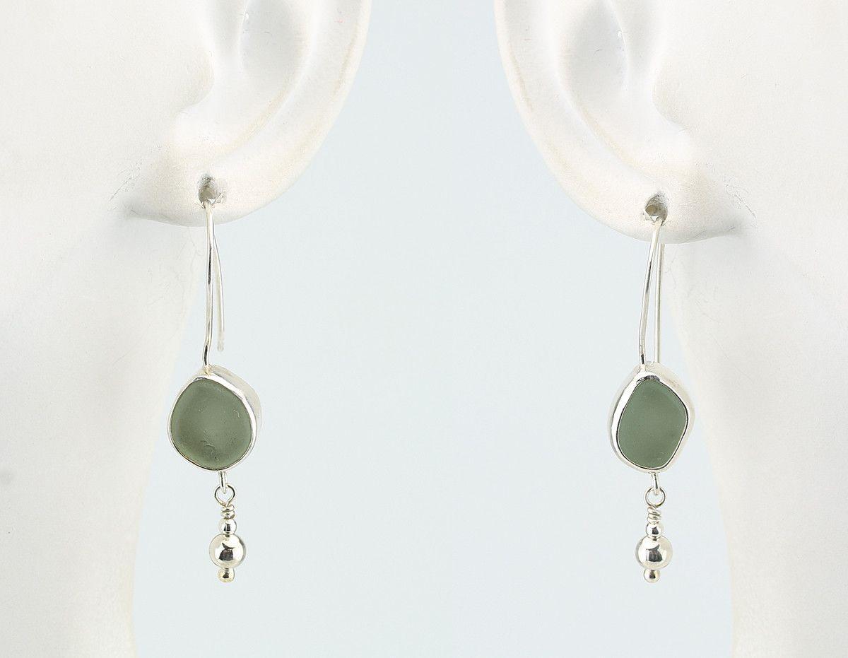 Sea Glass Dangle Earrings With Silver Ball