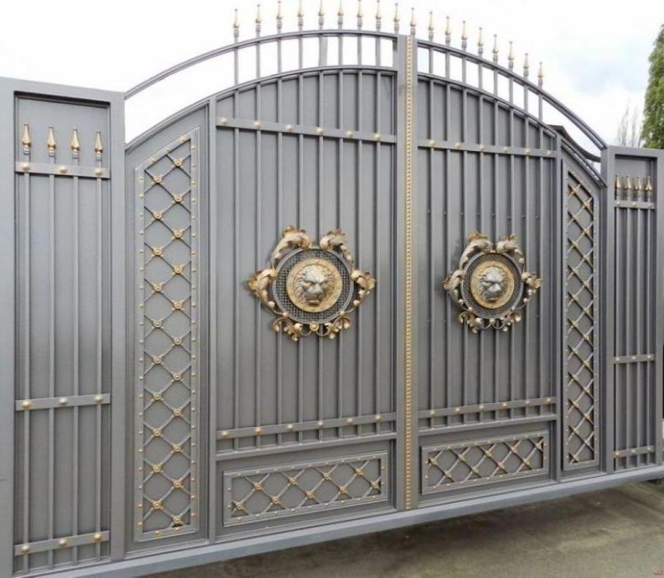 Modern Gate Design For Elegant Home Decoration Ideas : Stunning Gray Gold Gate  Design Ideas For Part 34