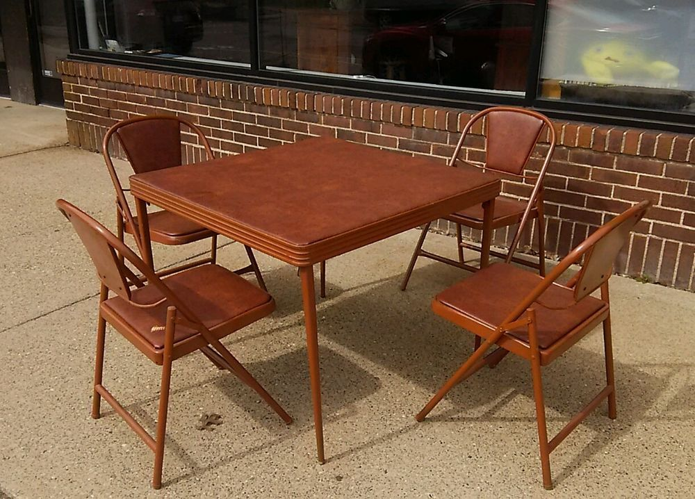 Durham Mfg 1940 S Folding Table And Chairs Art Deco Mid Century Card Art Chair Dining Furniture Sets Card Table And Chairs
