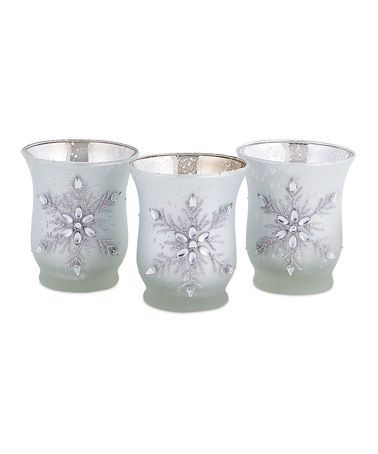 Take a look at this White Frosted Snowflake Candleholder - Set of 18 by Melrose on #zulily today!