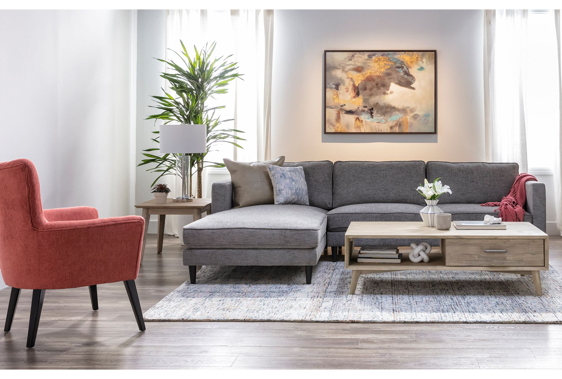 Best Cosmos Grey 2 Piece Sectional With Left Arm Facing Chaise 400 x 300