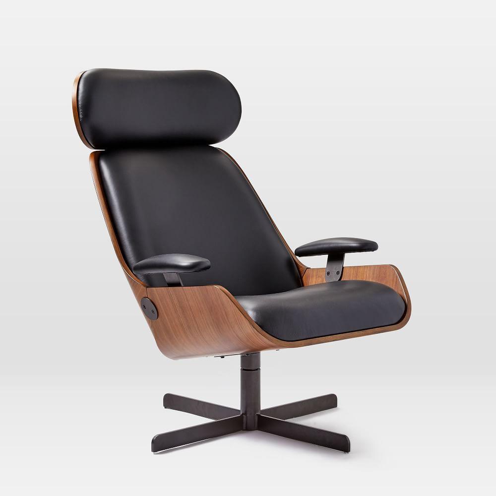 Malcolm Bentwood Leather Swivel Chair west elm Australia