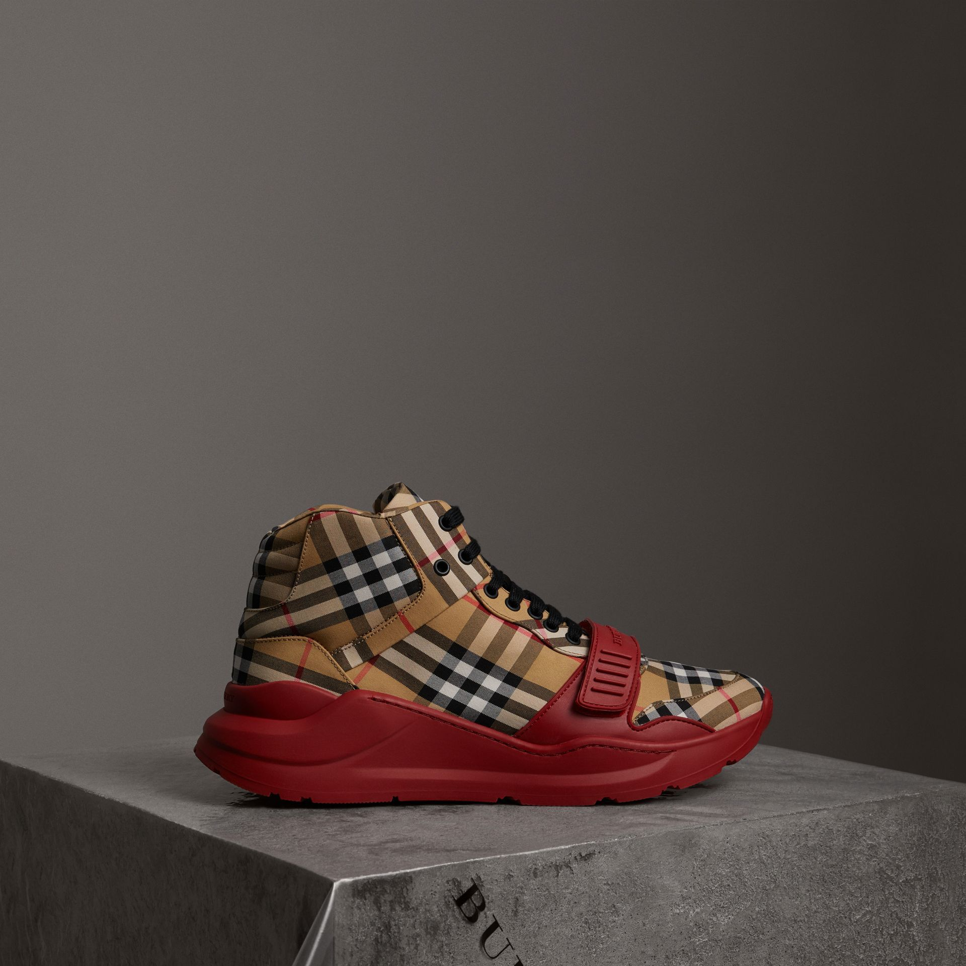 3555cfe98e1 BURBERRY Vintage Check High-top Sneakers.  burberry  shoes ...