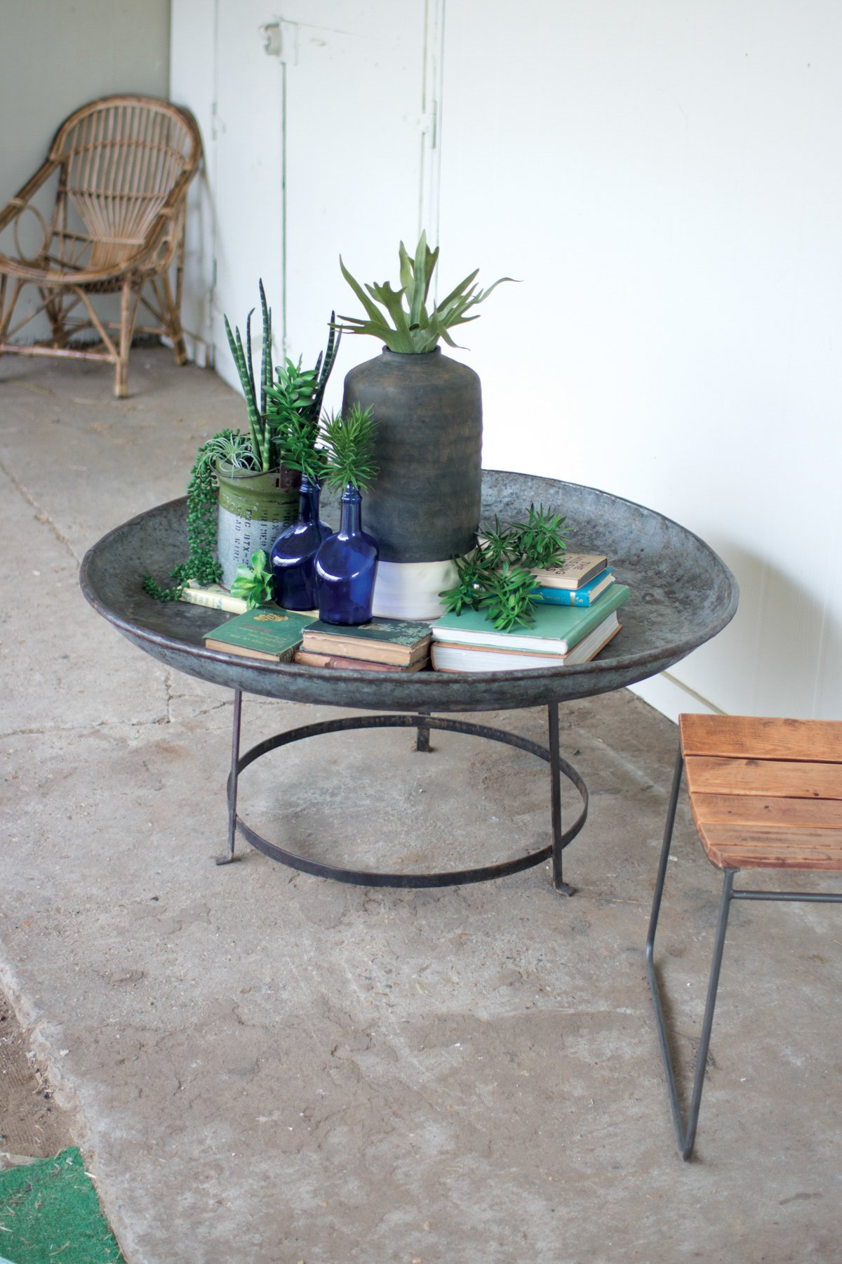 Antique Round Bowl With Iron Base Fire Pit Coffee Table Coffee Table Rustic Coffee Tables [ 1800 x 1200 Pixel ]