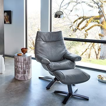 Natuzzi leather chair + ottoman | West Elm | in: medium brown. On ...