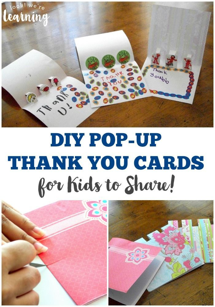 easy diy pop up thank you cards for kids to make paper crafts
