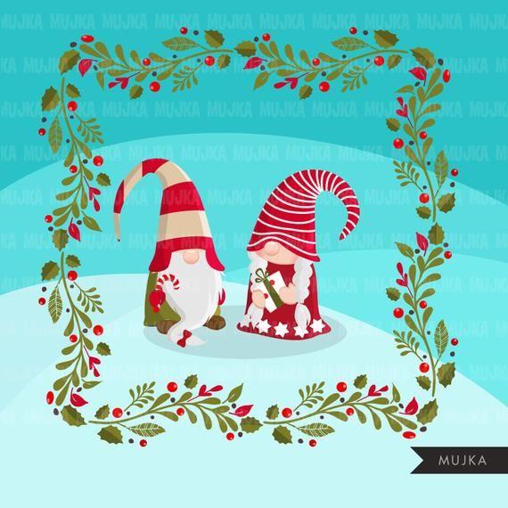 Christmas Gnomes Clipart.Christmas Gnomes Clipart Scandinavian Gnome Graphics Tomte