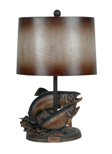 Rainbow Trout Lamp Rustic For The Cabin Or Lodge Perfect Gift For The Fisherman Fly Fishing Lover Lamp Rustic Lamps Table Lamp