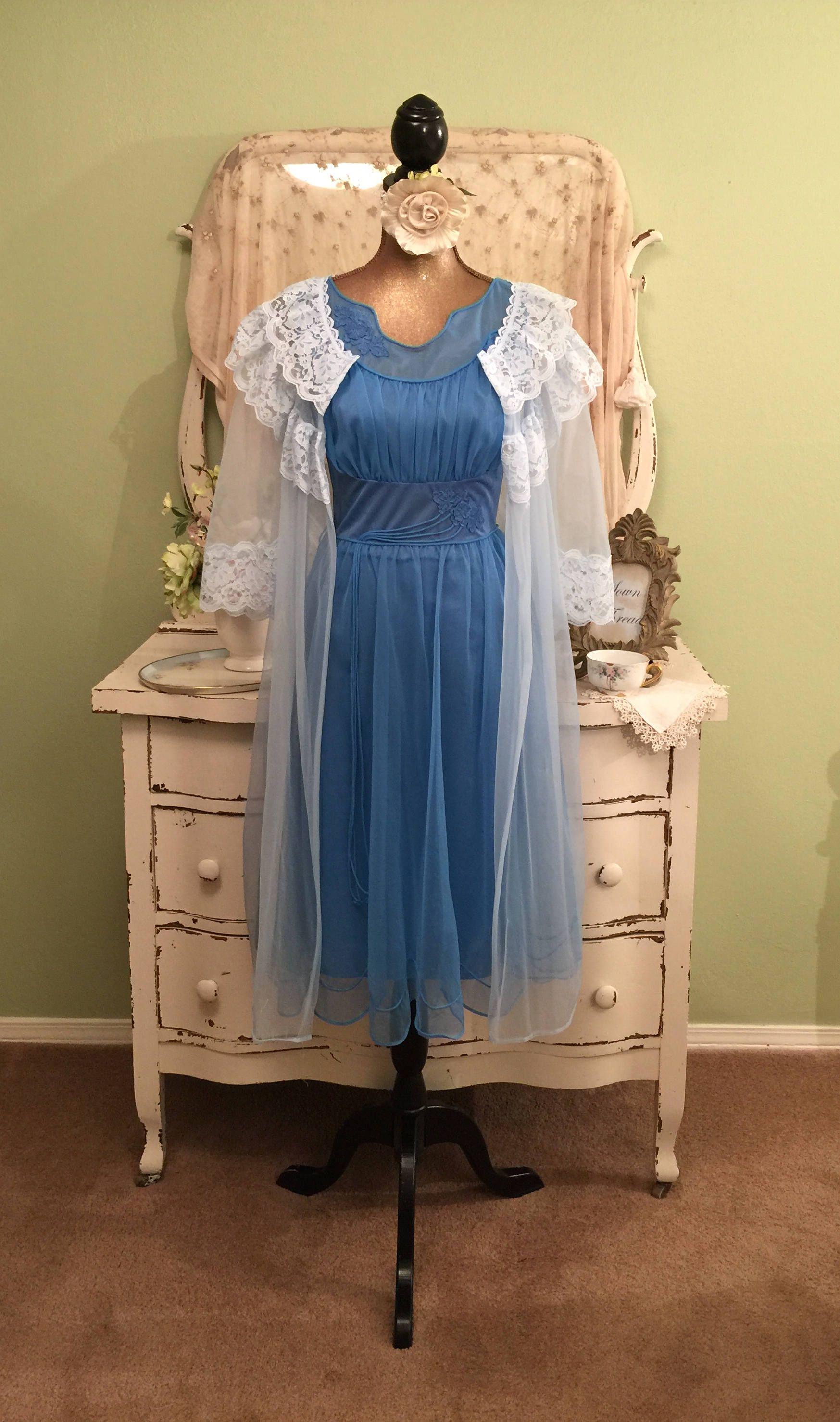 bb32819b13 Blue Chiffon Peignoir Princess Nightie and Robe Set Sheer Chiffon ...