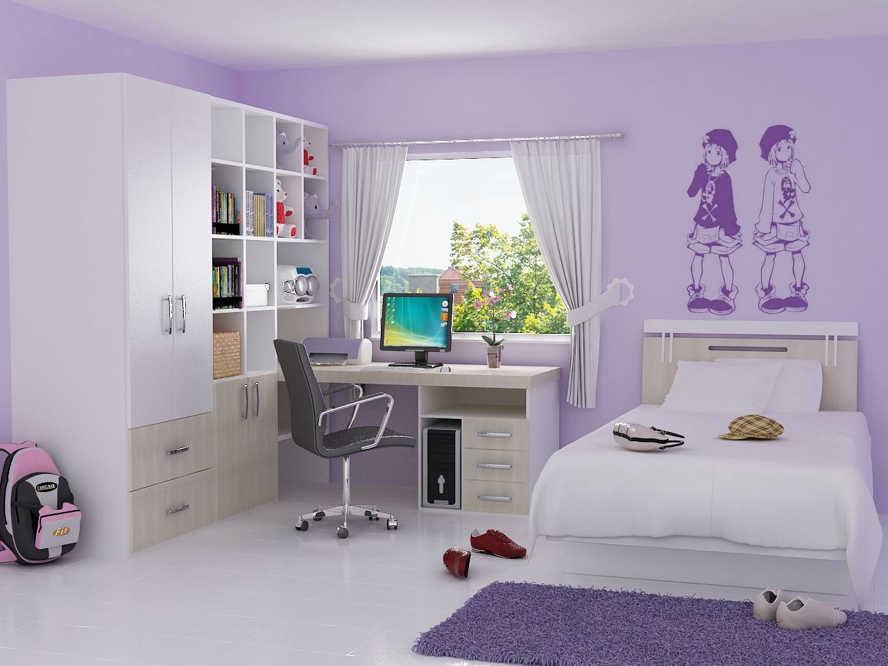 Bedroom ideas for teenage girls purple and pink - Bedroom Cute Teenage Girl Bedroom Ideas And Room Decor Ideas Also Interior Bedroom Ideas For Teenage Girl With Purple Wall Decor And Study Desk With Book