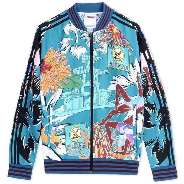 Adidas X Mary Katrantzou Printed Track Jacket ($276) ❤ liked on Polyvore featuring jackets, blue and adidas