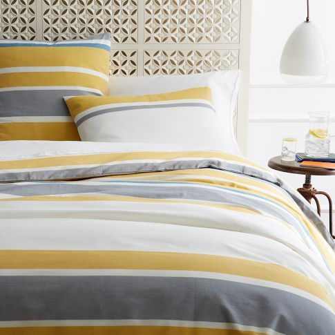These Sheets Just Caught My Eye On The Cover Of The West Elm Catalog On My Kitchen Table Why Didn T I Just Throw It Aw Striped Duvet Covers Striped Duvet Home