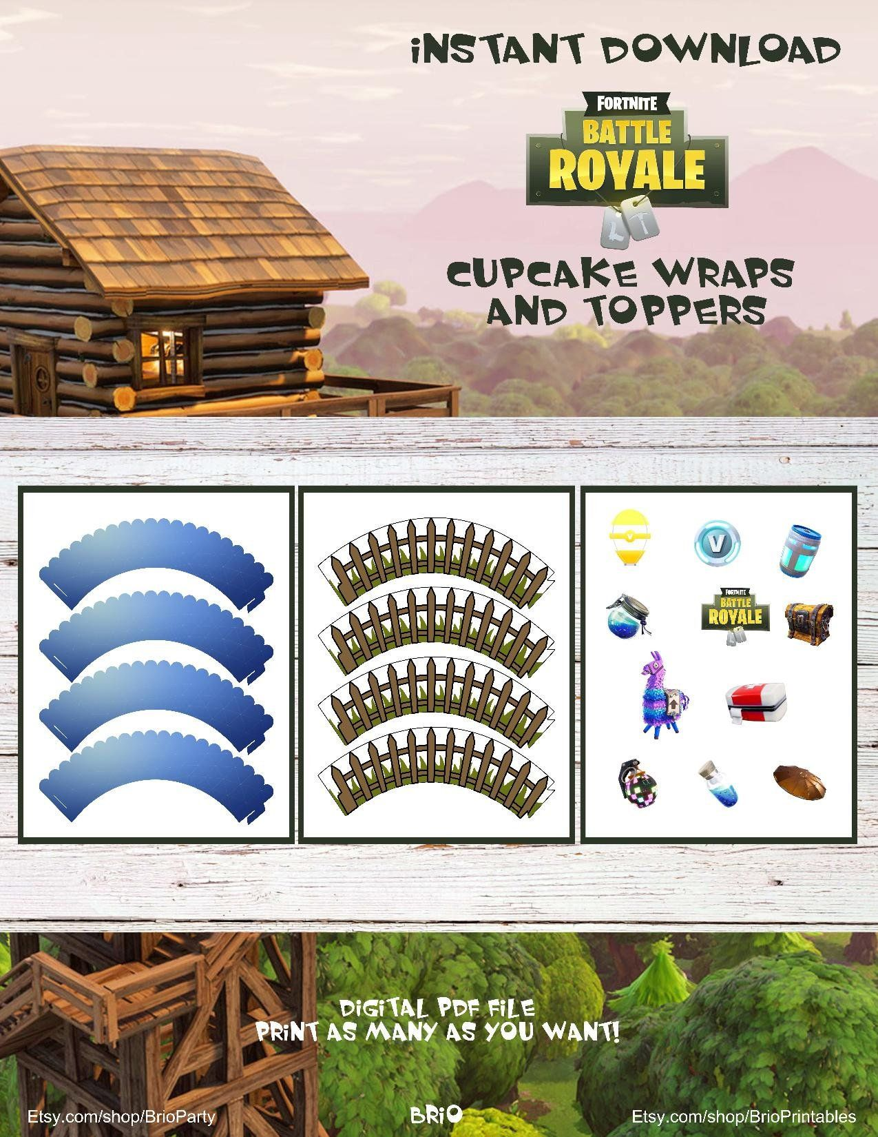 Fortnite Silhouettes Cupcake Toppers Or Buttons Printable