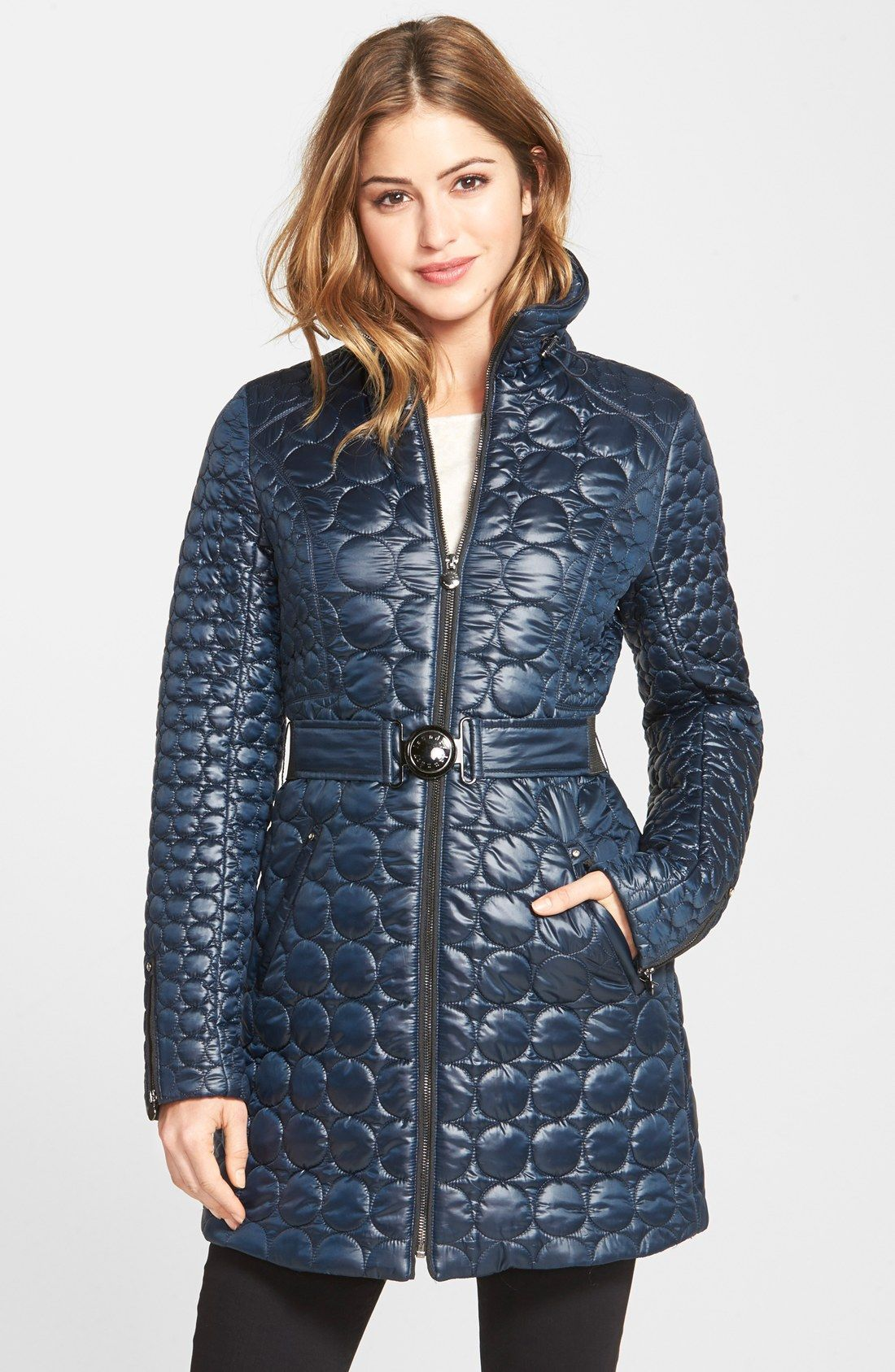 Laundry By Shelli Segal Belted Quilted Coat Regular Petite