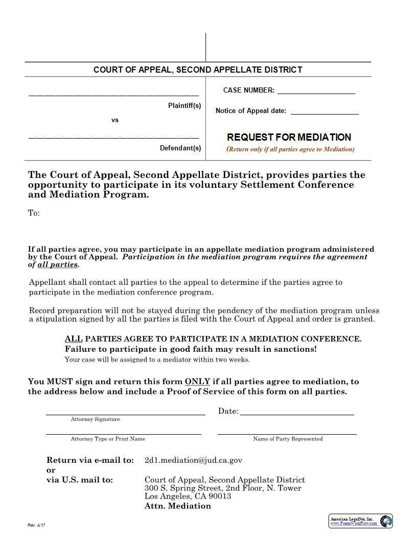 This Is A California Form That Can Be Used For Second Appellate