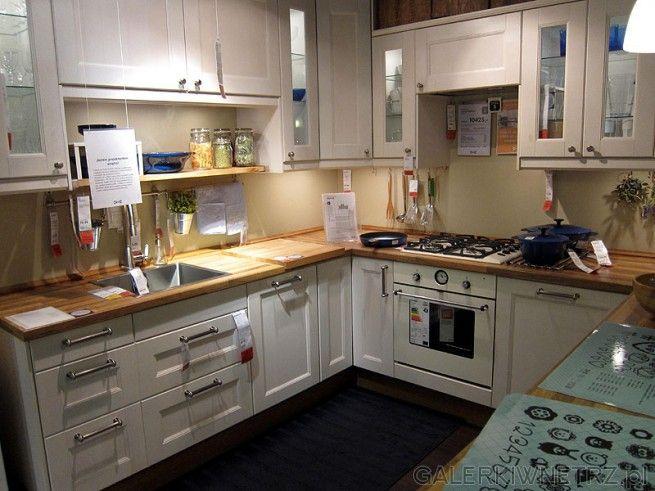 Kuchnia Ikea  biel plus drewno  House  Pinterest