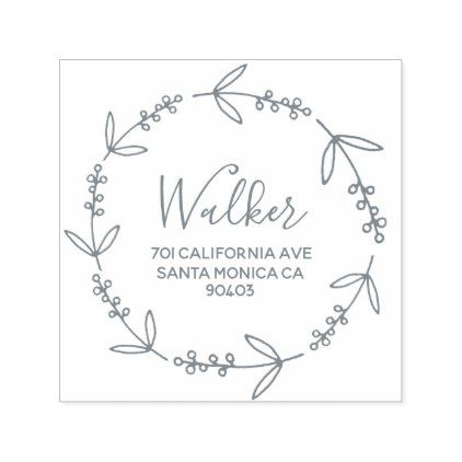 Photo of Family address wreath doodle decor self-inking stamp | Zazzle.com