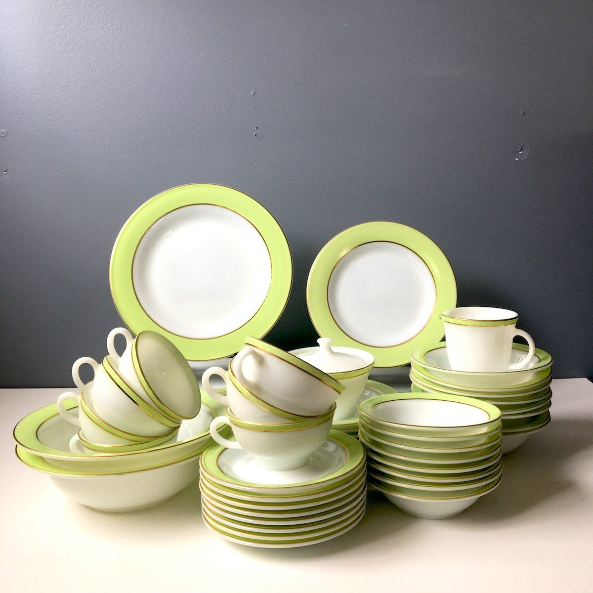 Pyrex lime green and white dinnerware set for 6-8 - 1950s vintage china & Pyrex lime green and white dinnerware set for 6-8 - 1950s vintage ...