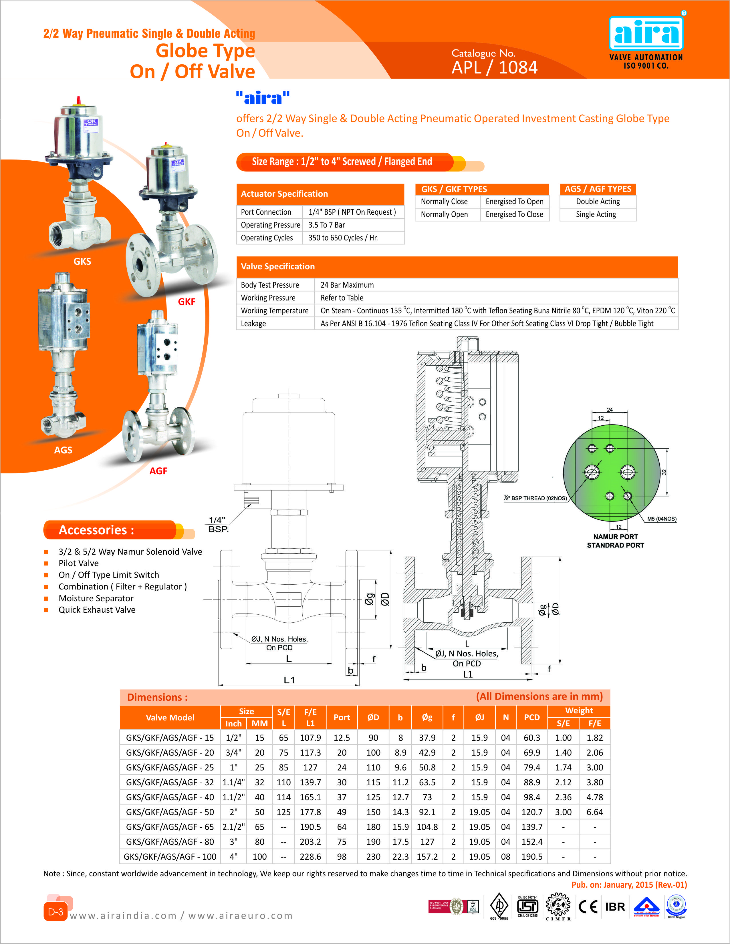 2 2 way pneumatic single double acting globe type on off valve for