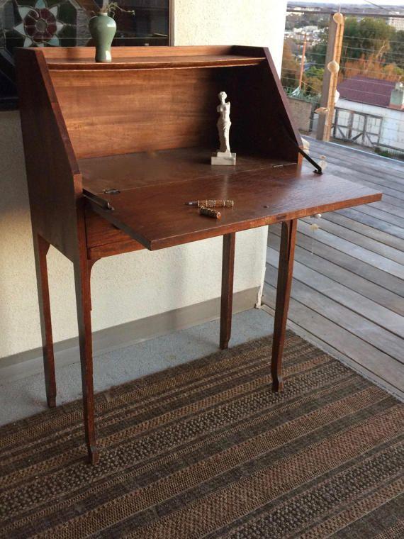 Antique Drop Leaf Desk Secretary Desk Shaker Style by TizaVintage Antique  Farmhouse, Farmhouse Furniture, - Antique Drop Leaf Desk Secretary Desk Shaker Style Mission Style