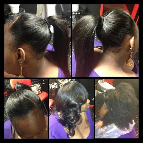 Pull up sew in on natural hair | sew-in | Pinterest
