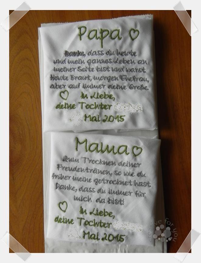 Besticktes Stofftaschentuch Von Nina Schmoll Creative For You Hochzeit Geschenk Hochzeit Karte Hochzeit