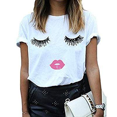 95bbc88a BLACKMYTH Women Summer Funny Print Short Sleeve Top Tee Graphic Cute T-shirt