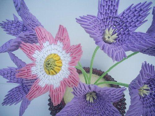 3D Origami - Bucket of Flowers | 3DOrigami | Pinterest ...