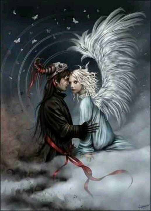 art Dark angels fantasy love