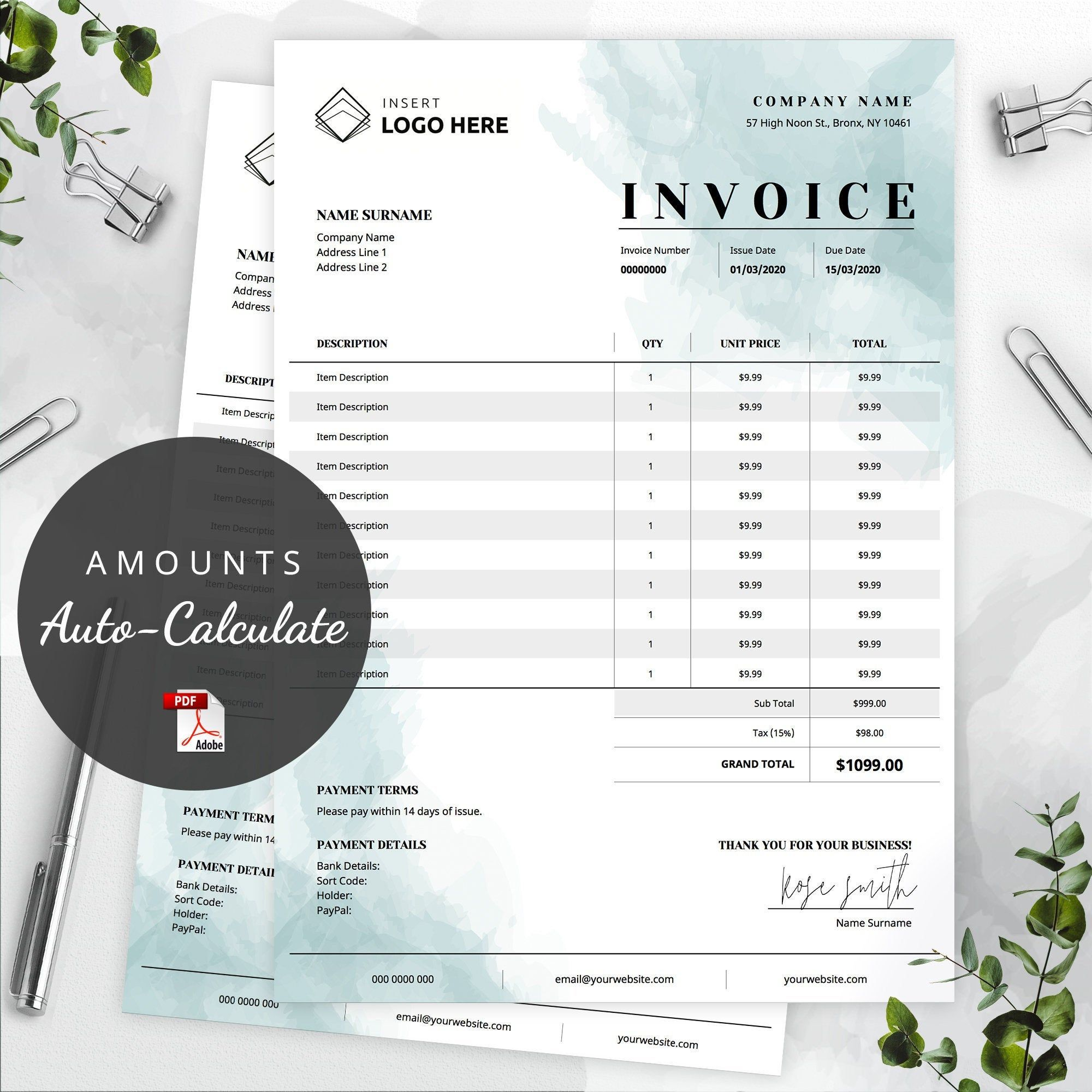 Editable Order Form Template Printable Order Form Instant Etsy Invoice Template Quote Template Printable Invoice