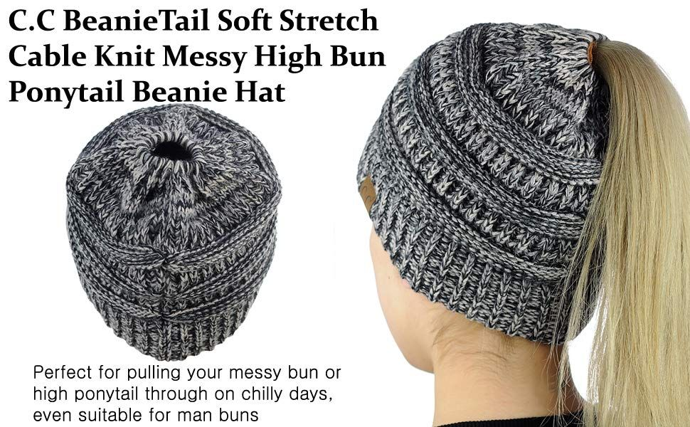 2057fd3fd C.C BeanieTail Soft Stretch Cable Knit Messy High Bun Ponytail ...