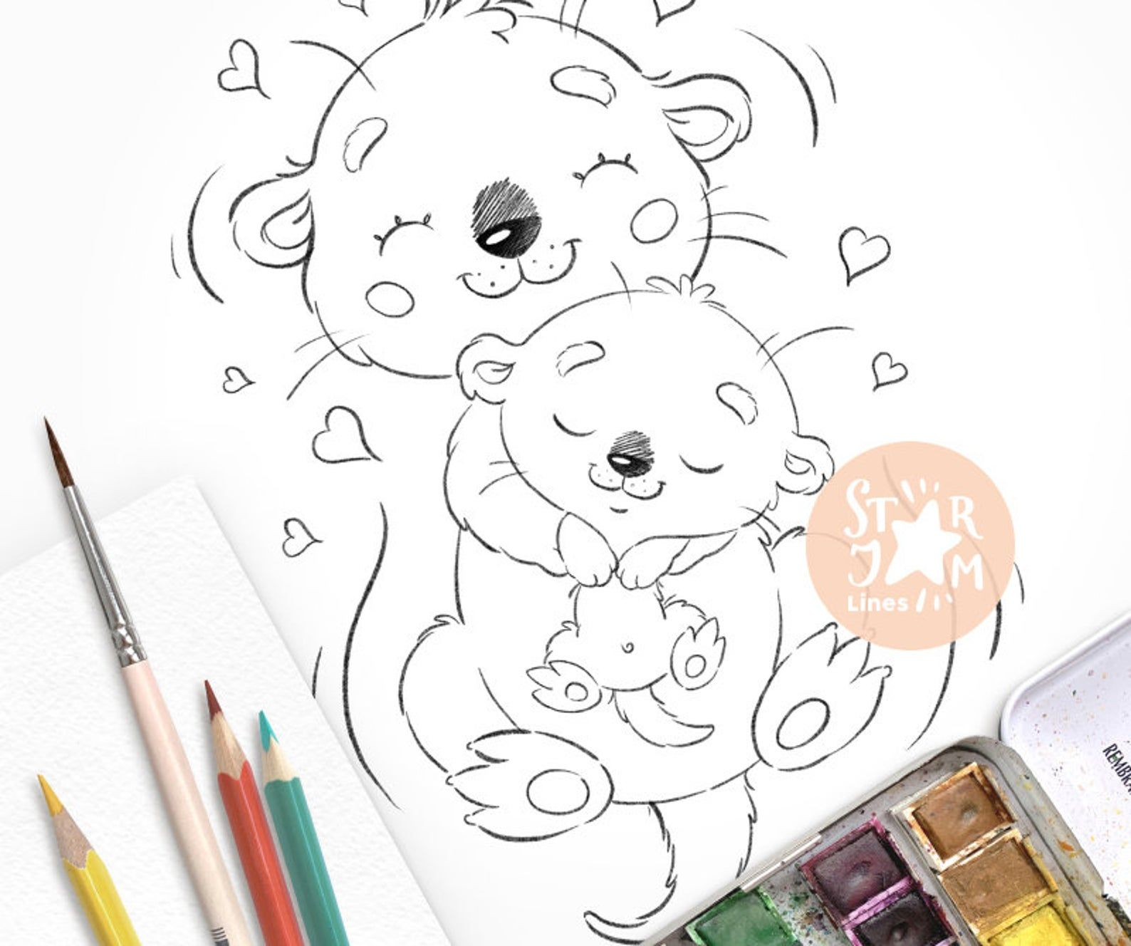 Baby Otter With Mom Digi Stamp Coloring Page Digital Art Etsy