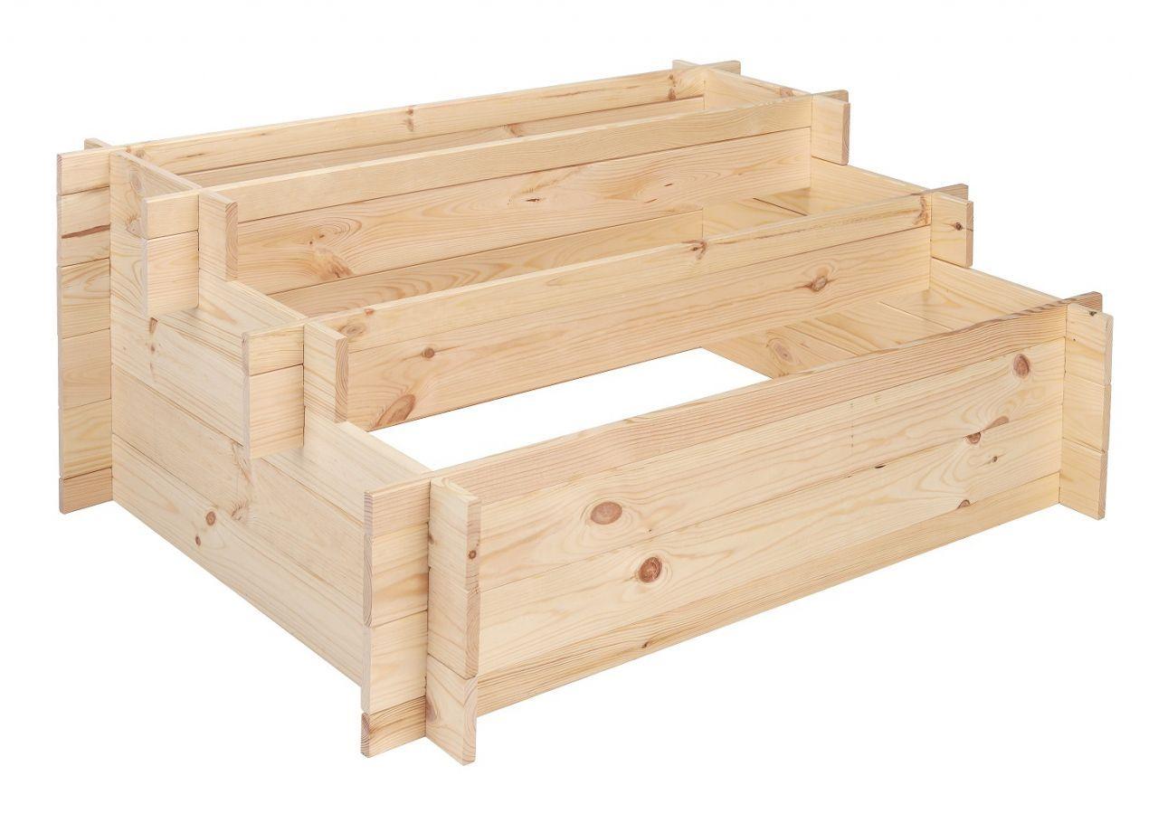 Das Stufen Hochbeet Aus Zertifiziertem Pinienholz Ist Ideal Als Gemuse Und Krauterbeet Ein Einfaches Stecksystem Erleichtert Den Hochbeet Hochbeet Holz Beete