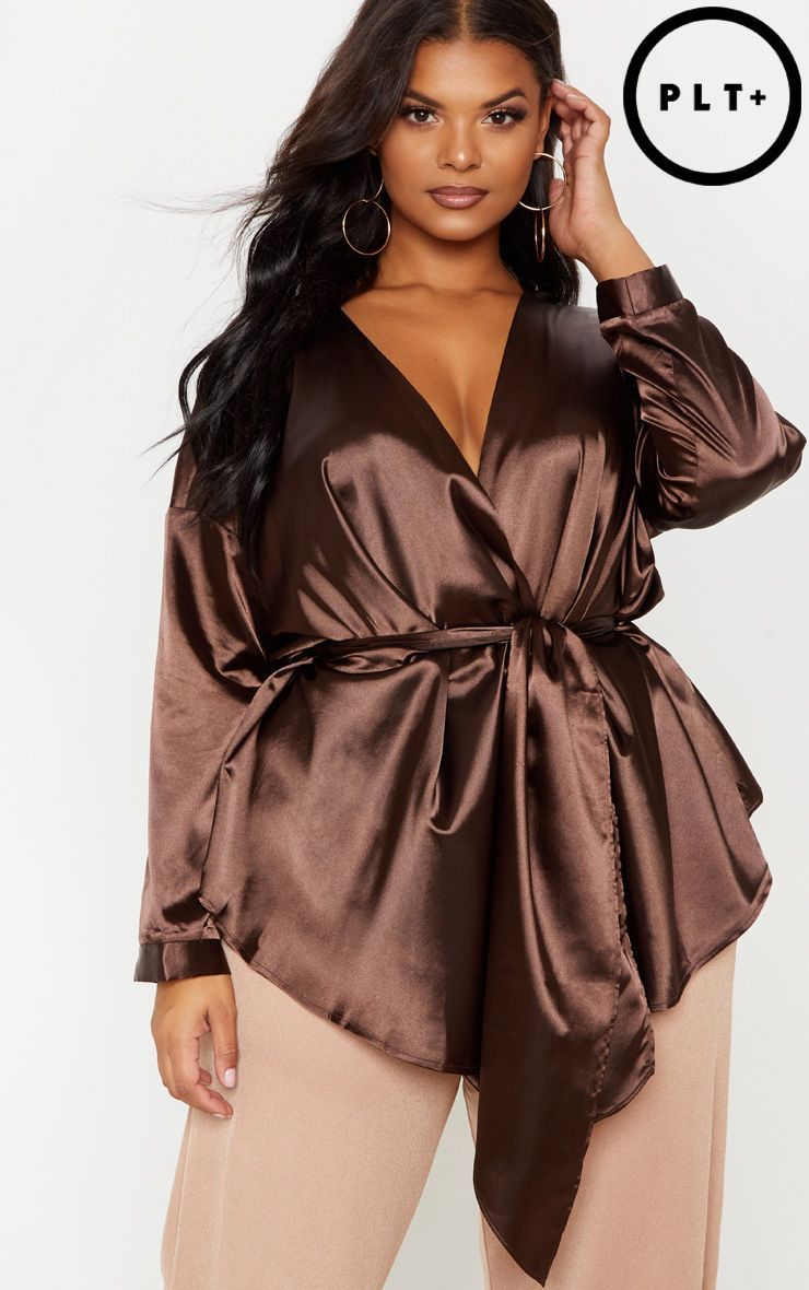 Plus Chocolate Brown Satin Tie Waist Blouse | ᴀ ...