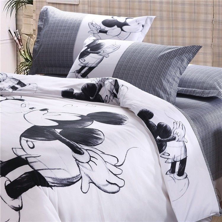 Luxury Mickey Minnie Mouse 4pc Bedding Sets Full Queen King
