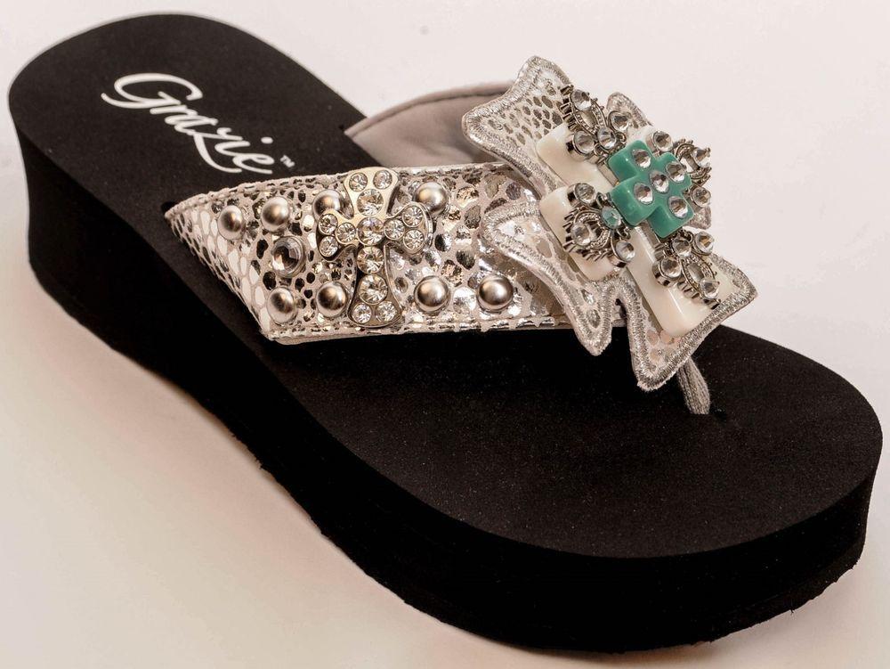 943a67b90 Grazie Flip Flop Shoes White Faith Cross