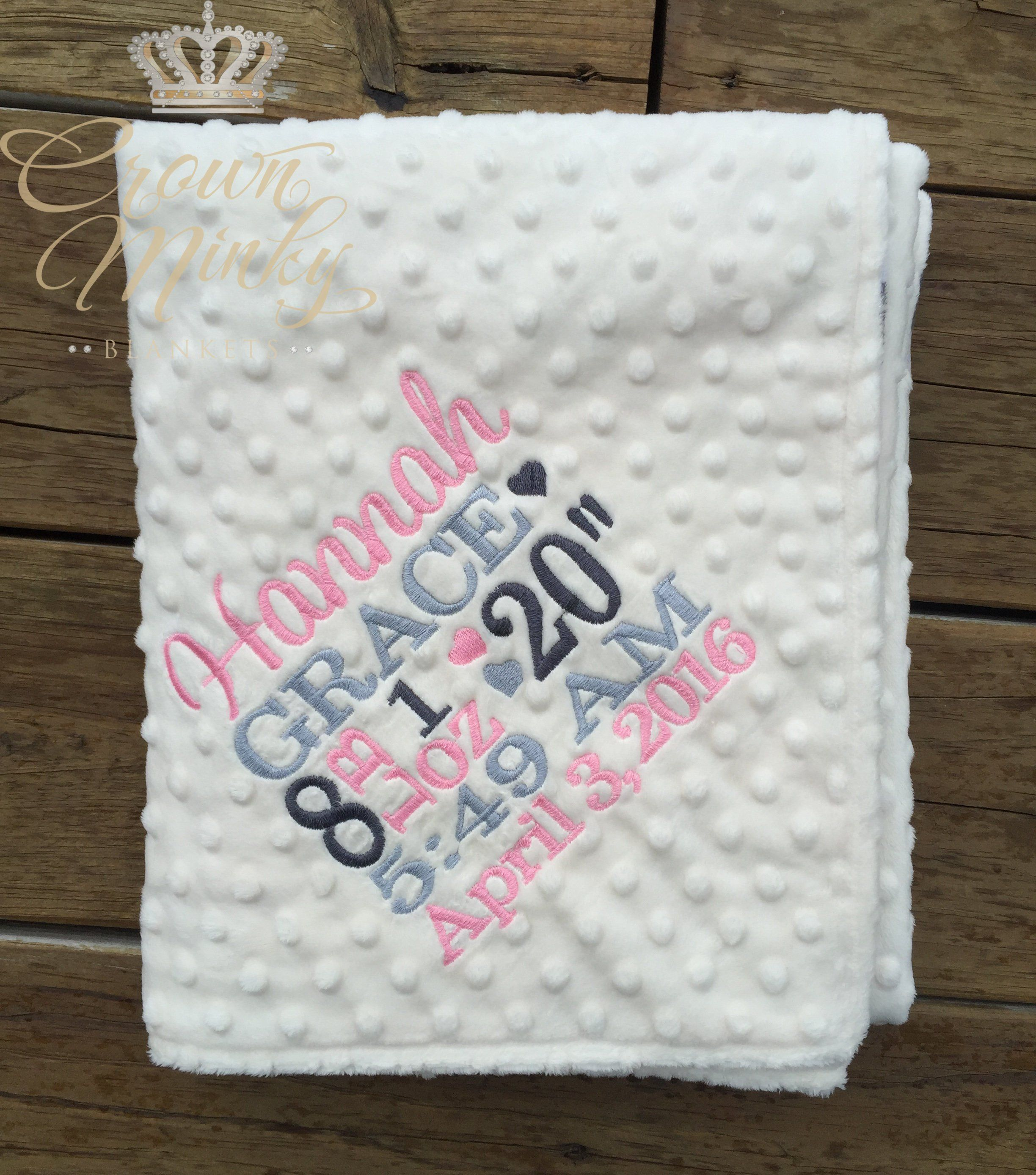 PERSONALISED BABY BIRTH BLOCK FLEECE BLANKET EMBROIDERED NEWBORN GIFT NAME DATE