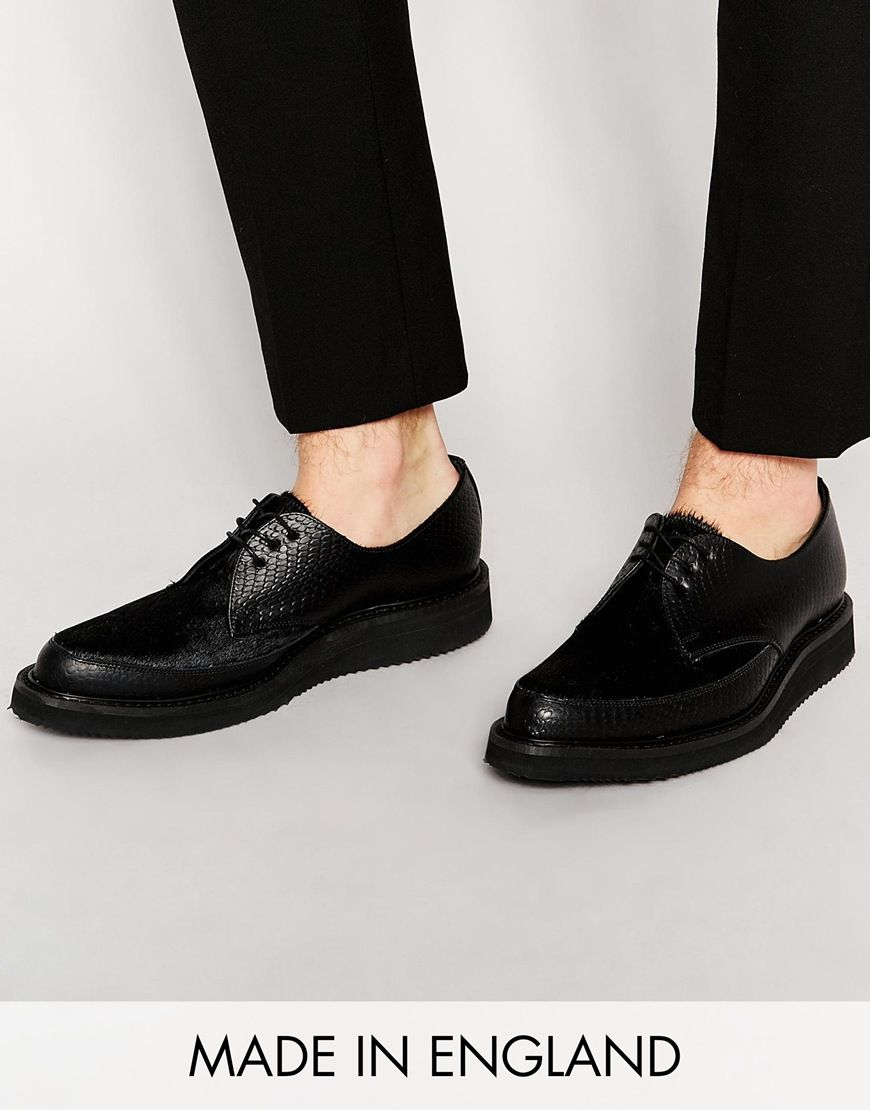 ASOS Brothel Creepers in Leather With Pony Effect Made in England at asos