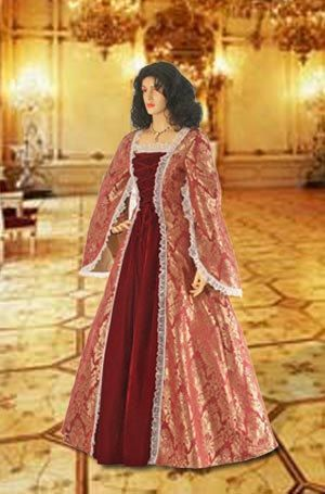 Renaissance Dress Handmade from Brocade Baroque Damask Velvet Gown Clothing Multiple Colors Available