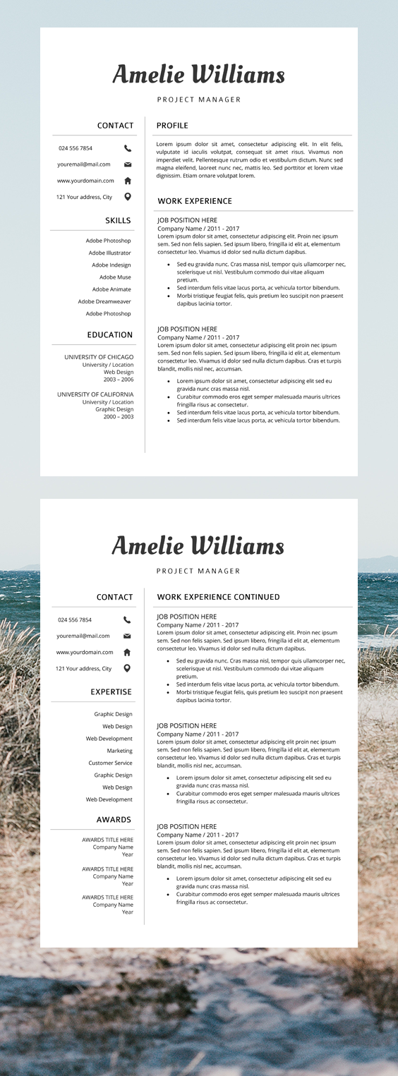 Resume CV Template Cover Letter Amelie Williams Cv