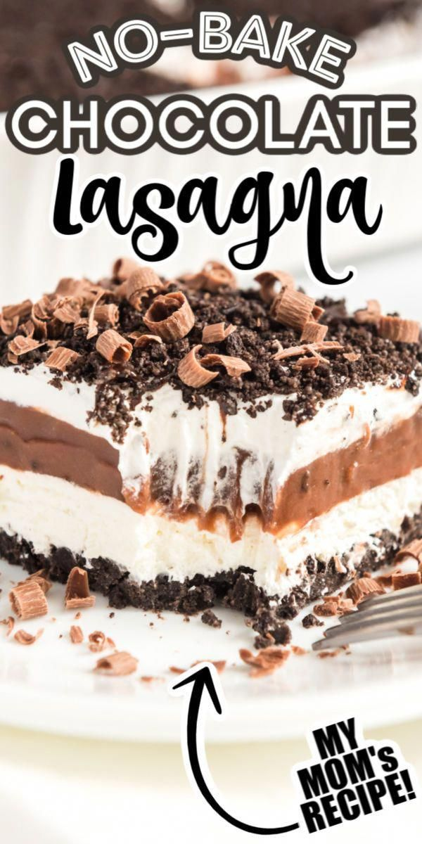Easy Chocolate Lasagna layered with crushed Oreos, Cool Whipped Topping, vanilla and chocolate pudding! The best No-Bake dessert recipe! #chocolate #dessert #easy #nobake #chocolatelasagna #yummy #oreo #cheesecakedessertseasy