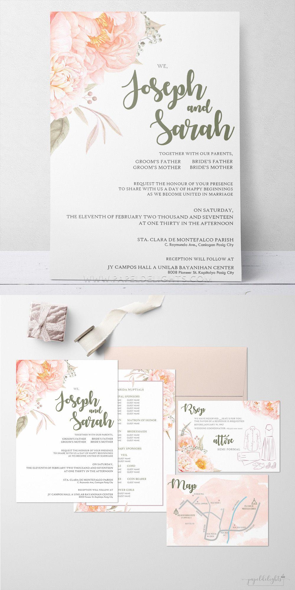 Peach Floral Wedding Invitation Papeldelights Design Studio