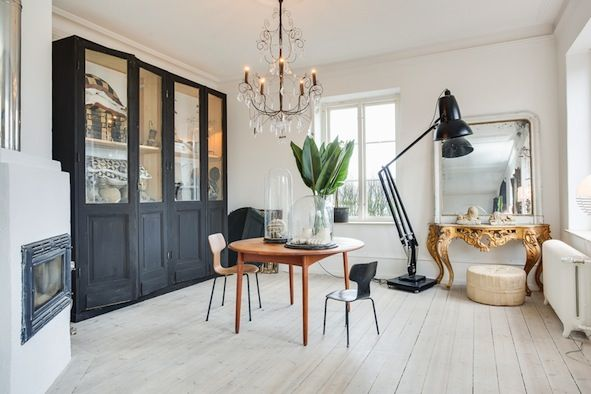 Love The Modern And The Old World Style Of The Desk Mixed Together Home Swedish Style Interior Interior