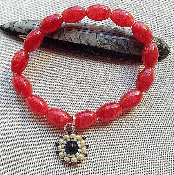 Red Glass Elastic Stretch Bracelet