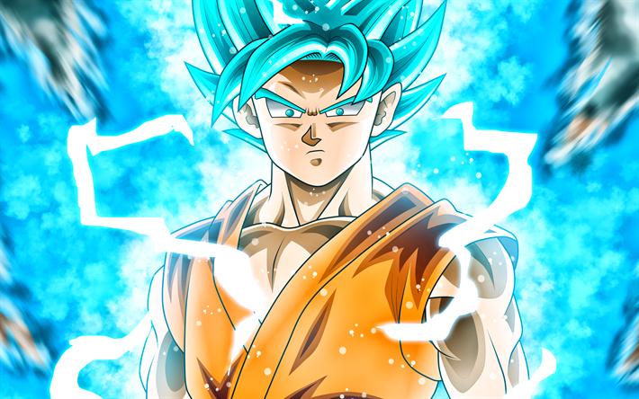 Download Wallpapers Blue Goku Lightning Super Saiyan Blue Dbs Super Saiyan God Dragon Ball Super Manga Dragon Ball Son Goku Besthqwallpapers Com Goku Super Saiyan Blue Goku Super Saiyan Wallpapers Goku Super