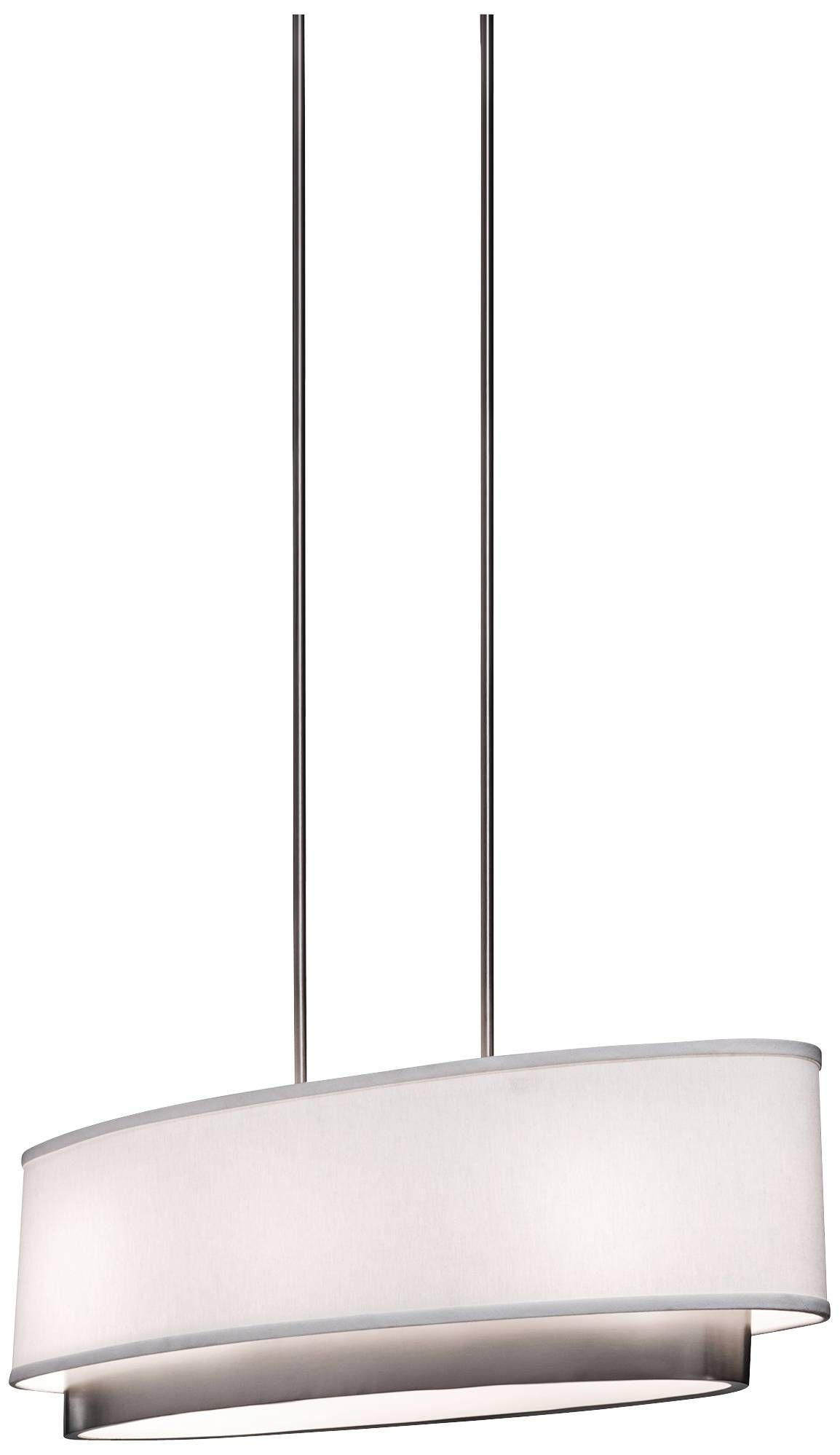 Ancd By A Rectangular White Linen Shade This Contemporary Brushed Nickel Pendant Light Will Brighten Any Modern Room Height X Wide Depth
