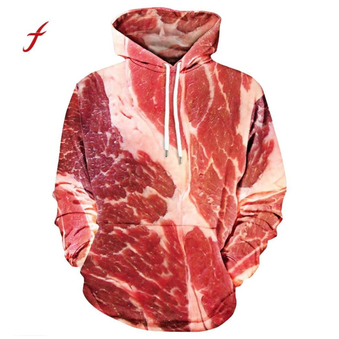 c96d6ce7983eb Unisex Couple Plus Size Large 3D Printed Pork Printed Raw Meat Pullover  Hooded Sweatshirt Tops Women Men Pocket Spring Funny Top  crazy  gifts