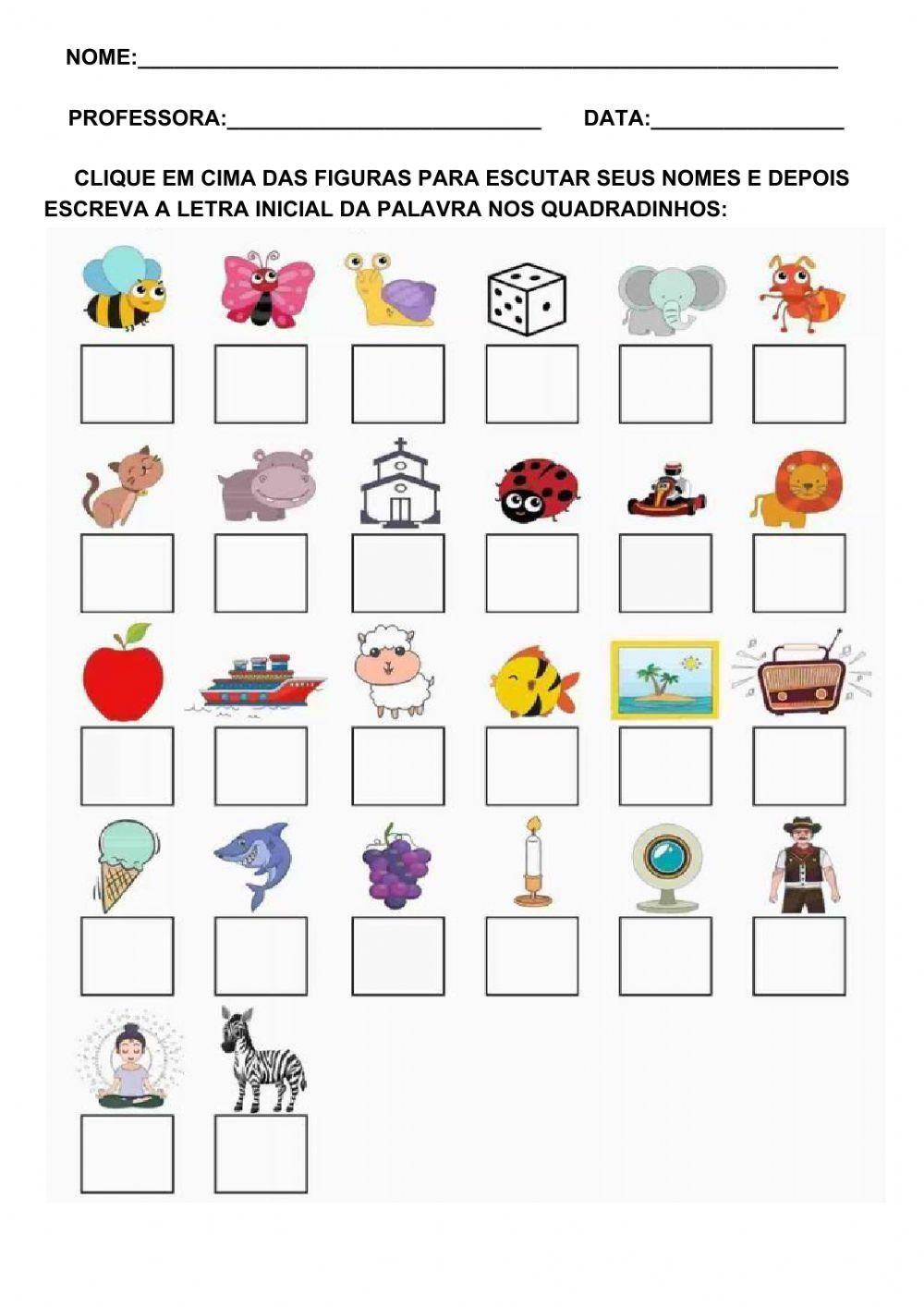 Alfabeto online activity for EDUCAÇÃO INFANTIL